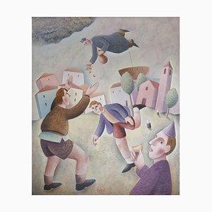 Il Lancio delle Raviole - Original Oil on Wooden Panel by C. Benghi - 2000s 2000s