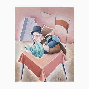 La Fuga di Un Sogno - Original Oil on Wooden Panel by C. Benghi - 2000s 2000s