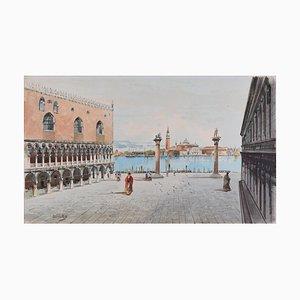 Venise, Piazza San Marco - Aquarelle Originale par A. Guidotti Début 20ème Siècle