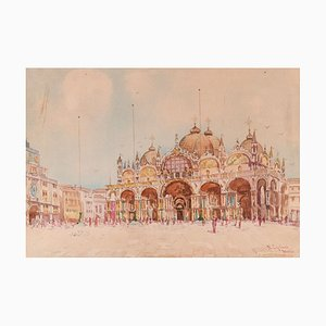 View of Piazza San Marco, Venice - Original Watercolor by N. Cipriani Early 20th Century