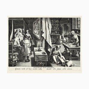 Hyacum, Et Lues Venerea - Original Etching by Jan Van der Straet - End of 1500 Late 16th century