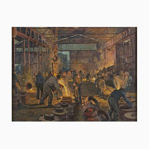 Interior of a Foundry - Original Oil on Canvas by H. C. Berke - Mid 1900 Mid 1900