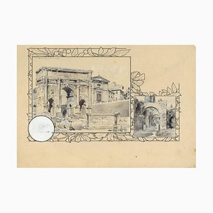 Settimio Severo Triumphal Arch - Original China Ink Drawing by A. Terzi - 1899 1899