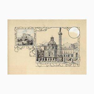 Trajan Column - Original China Ink Drawing by A. Terzi - 1899 1899