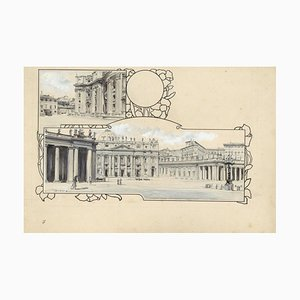Piazza San Pietro - Original China Ink Drawing by A. Terzi - 1899 1899