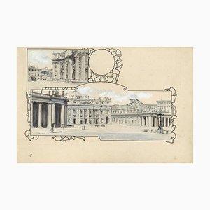 Piazza San Pietro - Original China Tuschezeichnung von A. Terzi - 1899 1899