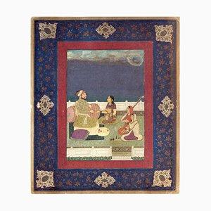 Miniature Indienne - Mogol Emperor - Tempera Original sur Papier 19ème Siècle 19ème Siècle