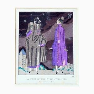 La Promenade à Montmartre - Original Pochoir by C. Martin - 1919 1919