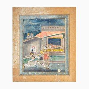Indian Miniature - Fight between Durga and Mahishasura - 19th Century 19th Century