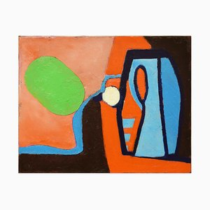 Green Oval on Light Blue Shape - Oil on Canvas - 2013 2013