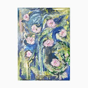 Pink Flowers - Original Öl auf Leinwand von Laura D'Andrea - 2010er 2010er
