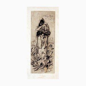 Dans la Posta - Original Etching by Félicien Rops - 1879 1879