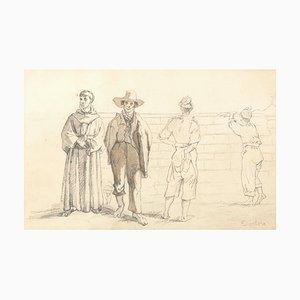 Commoners and Friars - Original Bleistiftzeichnung auf Papier y T. Duclère - Mid 1800 Mid 19th Century