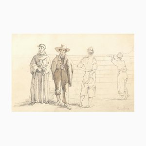 Commoners and Friars - Original Pencil Drawing on Paper y T. Duclère - Mid 1800 Mid 19th Century