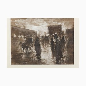 A Night in Paris - Original Mixed Media on Paper von P. Scoppetta - 1911 1911