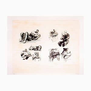 Eight Sculptural Ideas, Girl Writing - Original Lithograph by Henry Moore - 1973 1973
