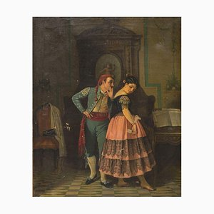 Gallant Scene in Spanish Costume-Oil on Canvas by Neapolitan Artist 19th Century 19th Century