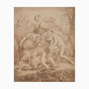Allegorical Scene - Original Sepia Drawing Attribute to L.F. Dubourg -Early 1700 Early 18th Century
