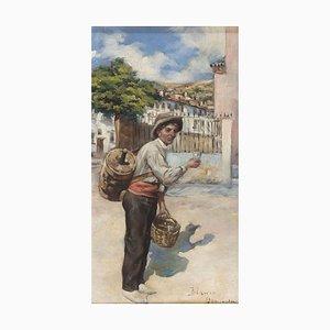 The Wine Seller - Öl auf Holztafel signiert '' Blanco Granada '' - 19. Jahrhundert 19. Jahrhundert