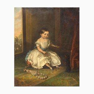 Interior Scene with Baby and Dog - Öl auf Leinwand von French Artist 19. Jahrhundert 19. Jh