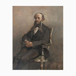 Portrait of Seated Man - Oil on Canvas by A. Pascutti - 1870s 1870s