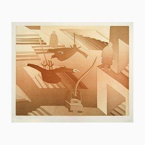 Untitled [Homme Volant] - Original Lithograph by J.M. Folon 1970s