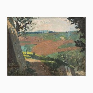 Landscape - Oil on Cardboard by A. Hollaender - Late 19th Century Late 19th Century