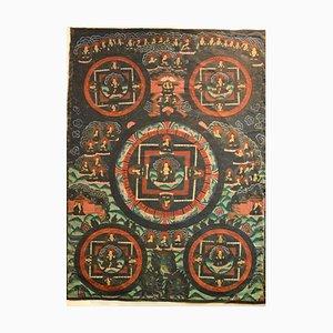 Buddha Mudra Mandala - Tibetisches Vintage Thangka - Frühes 20. Jahrhundert Frühes 20. Jahrhundert