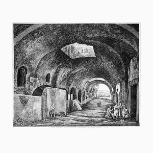 Androne della Villa di Mecenate a Tivoli - Original Etching by L. Rossini - 1824 1826