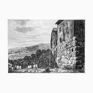 Avanzi delle grandi Mura ciclopee ... - Gravure à l'Eau-Forte par L. Rossini - 1825 1825