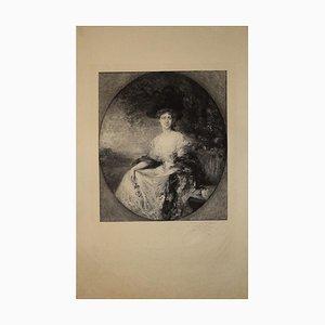 Portait of Madame - Original s / w Radierung von Charles Waltner - Ende 19. Jh. 1860-1900