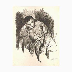 Enfant Assis - Original Lithograph by Maximilien Luce - 1890s 1890s