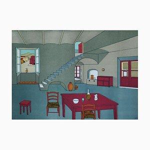 The Lounge - Original Lithograph by Zeno Giglietti - 1970 1970
