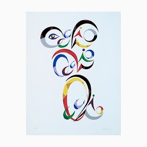 Letter Q - Original Lithograph by Raphael Alberti - 1972 1972