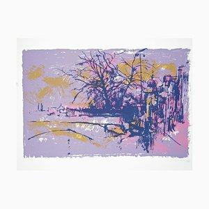 White \ Violet Landscape - Original Siebdruck von Nicola Simbari 1976