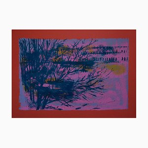 Red/Violet Landscape - Original Lithograph by Nicola Simbari - 1976 1976