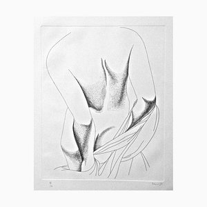 Nude from the Back - Original Etching by Giacomo Porzano - 1975 1975