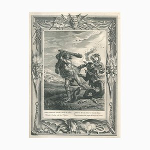 Combat d'Hercule, from ''Temple des Muses'' - Original Etching by B. Picart - 1742 1742