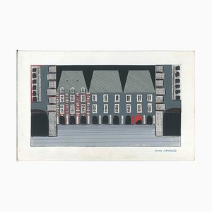 House with Portico - Original Mixed Media by A. Matheos Mid 20th Century