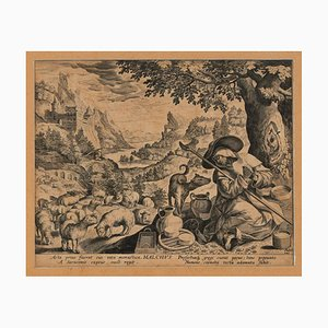 Malchus of Chalcis as Hermit - Original Etching by Johannes Sadeler Late 16th Century