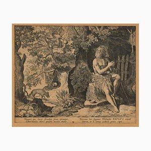 Paulus der Einsiedler - Original Radierung von Johannes Sadeler, spätes 16. Jh