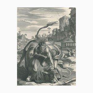 Hercule et le Taureau, aus '' Le Temple des Muses '' von B. Picart 1742