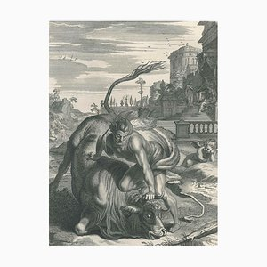 Hercule et le Taureau, from ''Le Temple des Muses'' by B. Picart 1742