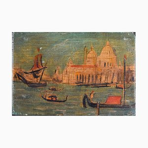 Venice, Santa Maria della Salute - Original Öl auf Holzplatte von Hans Gill Mid 20th Century