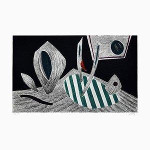 Abstract Turtle - Original Radierung von Henry Goetz - 1970er 1970