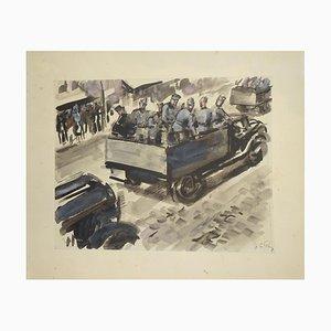 Soldiers - Original Tempera and Watercolor by J.L. Rey Vila - 1950s 1950s