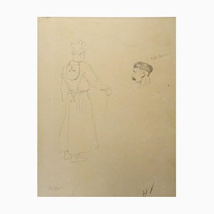 Portraits - Original Pencil Drawing by Horace Vernet - Mid 1800 Mid 1800