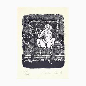 Unter dem Halbmond - Linolschnitt auf Papier von Jean Barbe / Mino Maccari - 1945 1945