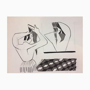 The Hairstyle - Original China Ink on Paper by Henry Wormser - 1950s 1950s