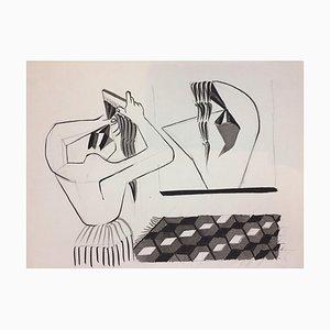 The Hairstyle - Original China Tusche auf Papier von Henry Wormser - 1950er 1950er